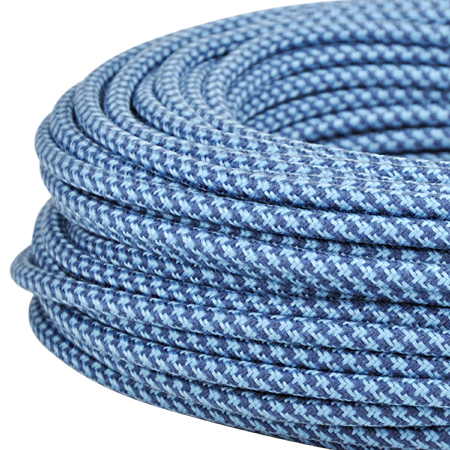 Textilkabel Stoffkabel 3x0,75 mm² jeansblau taubenblau gestreift