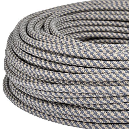Textilkabel Stoffkabel 3x0,75 mm² Jute grau gestreift