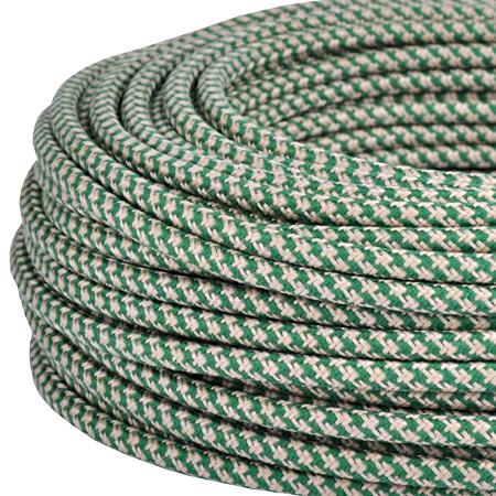 Textilkabel Stoffkabel 3x0,75 mm² Jute grün gestreift