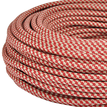 Textilkabel Stoffkabel 3x0,75 mm² Jute rot gestreift