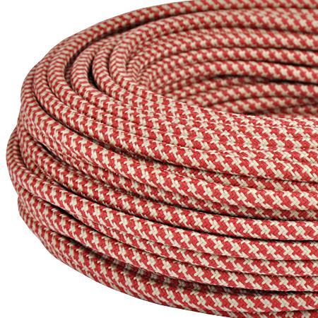 Textilkabel Stoffkabel 3x0,75 mm² Jute rot gestreift 3 m