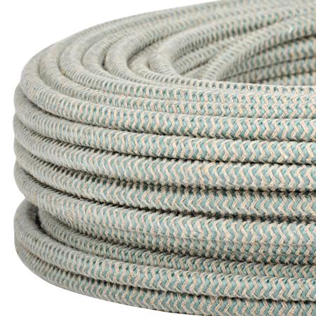 Textilkabel Stoffkabel 3x0,75 mm² Jute salbeigrün Zick Zack Meterware