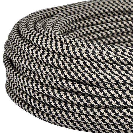 Textilkabel Stoffkabel 3x0,75 mm² Jute schwarz gestreift