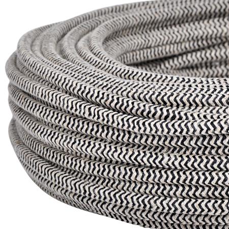 Textilkabel Stoffkabel 3x0,75 mm² Jute schwarz Zick Zack 10 m
