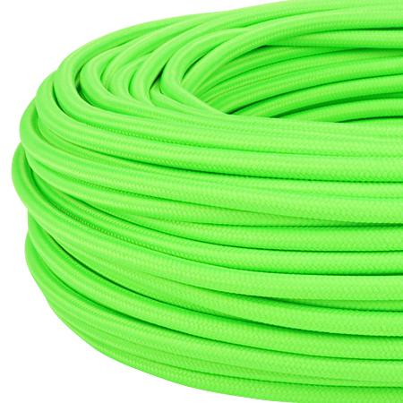 Textilkabel Stoffkabel 3x0,75 mm² Neon grün 3 m