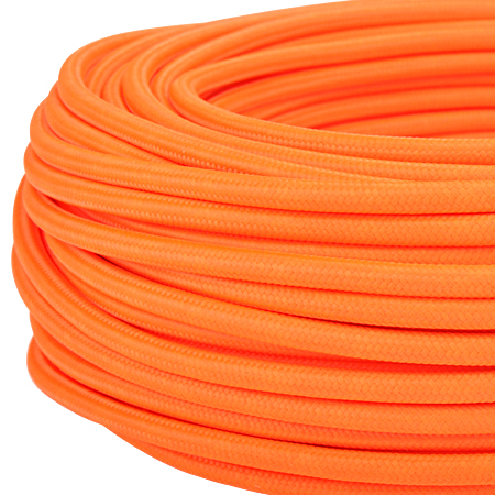 Textilkabel Stoffkabel 3x0,75 mm² Neon orange