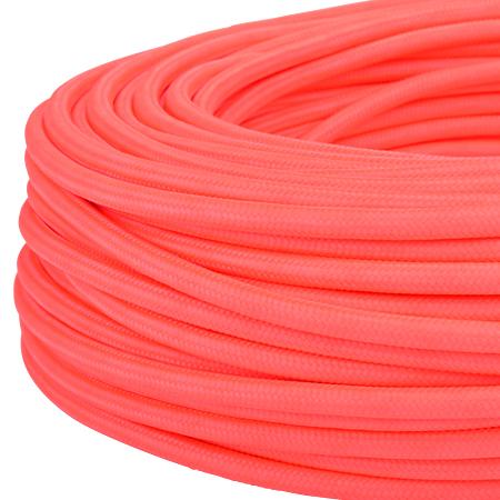 Textilkabel Stoffkabel 3x0,75 mm² Neon pink 50 m