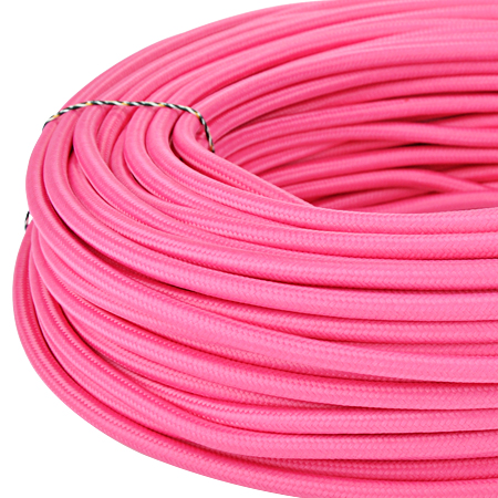 Textilkabel Stoffkabel 3x0,75 mm² pink 5 m