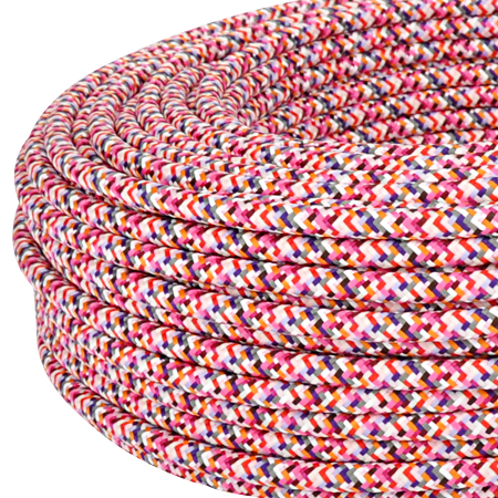 Textilkabel Stoffkabel 3x0,75 mm² Pixel pink 5 m