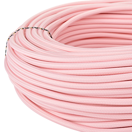 Textilkabel Stoffkabel 3x0,75 mm² rosa 5 m