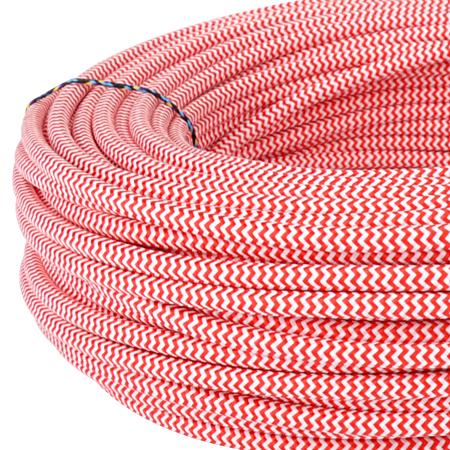 Textilkabel Stoffkabel 3x0,75 mm² rot weiß Zick Zack 10 m