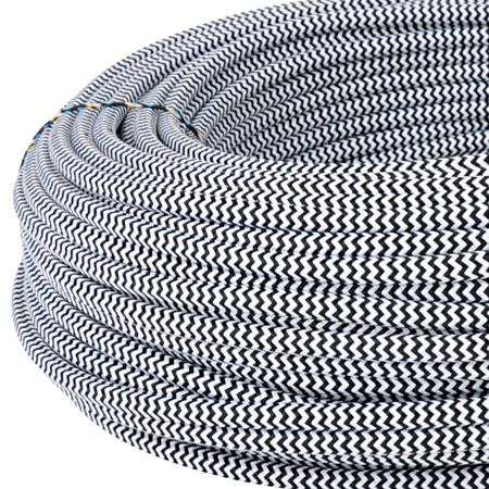 Textilkabel Stoffkabel 3x0,75 mm² schwarz weiß Zick Zack 25 m