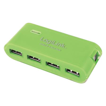 LogiLink USB 2.0 Hub 4-Port mit Netzteil gr�n