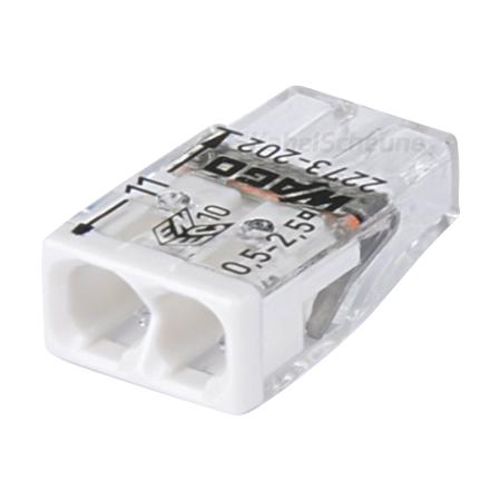 Wago Steckklemme 2-fach 0,5-2,5 mm² weiß 100 Stück