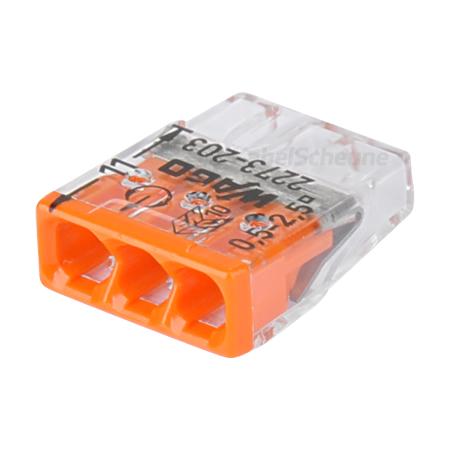 Wago Steckklemme 3-fach 0,5-2,5 mm² orange 100 Stück