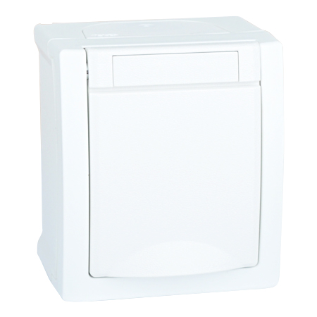 steckdose 1 fach aufputz feuchtraum ip54 wei g nstig. Black Bedroom Furniture Sets. Home Design Ideas