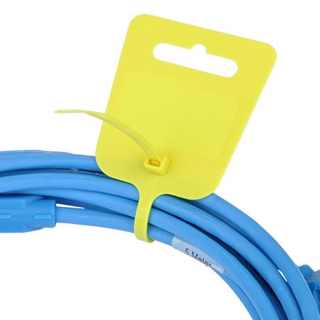 Kabelbinder mit Euroloch und Beschriftungsfeld gelb