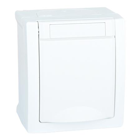 Steckdose 1-fach Aufputz Feuchtraum IP54 weiß