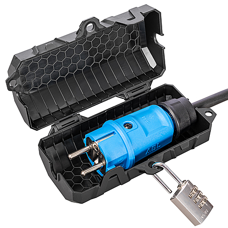 SteckerBox abschließbar Mini SteckerSafe mit Schnappverschluss schwarz