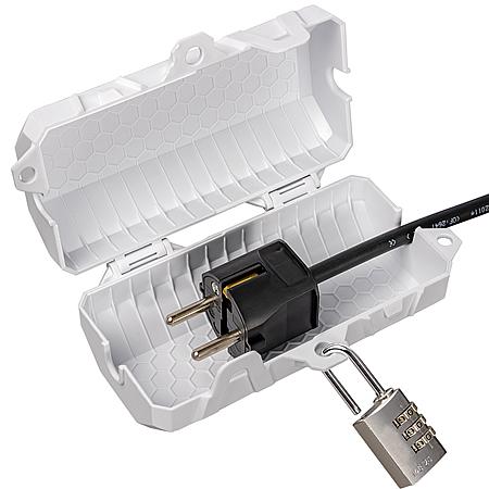 SteckerBox abschließbar Mini SteckerSafe mit Schnappverschluss weiß