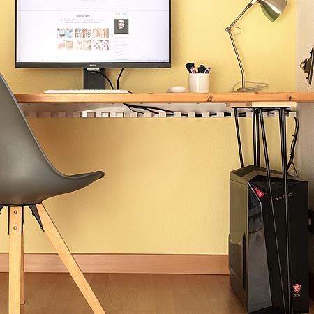 Schreibtisch Kabelwanne Metall 60x80 mm weiß 1,46 m