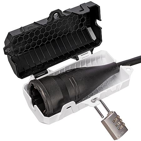 Steckerschutz Verriegelung abschließbare Box Mini SteckerSafe black & white